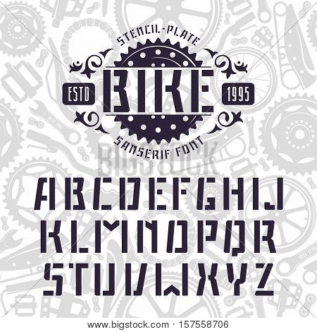 Stencil-plate sanserif font in sport style. Black font on light texture background