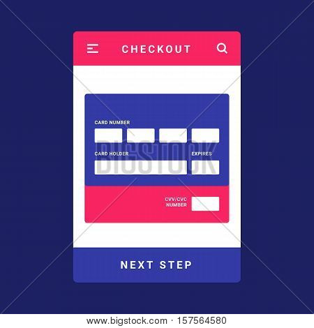 UI, UX and GUI template layout for Mobile Apps. Mobile bank card payment for e-commerce. Pink and blue color ux app. User interface. Checkout, card number and card holder name step.