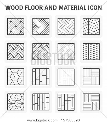 Wood floor pattern or wood material vector icon set design.