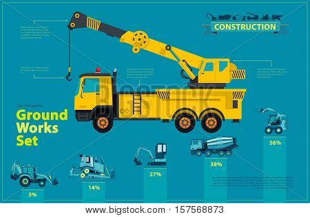 Yellow crane. Blue infographic big set of ground works blue machines vehicles. Catalog page. Heavy construction equipment for building truck digger crane bagger mix. Transportation master vector.
