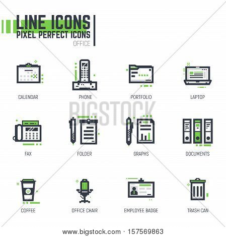 Set of pixel thick line style office icons.Business items in black and green colors with abstract lines and pixel dots.