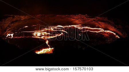 Panorama of Erta Ale volcano crater melting lava Danakil depression Ethiopia