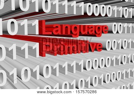 Language primitive in the form of binary code, 3D illustration