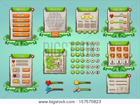 Game UI. Graphical user interface set in natural style. Universal multi purpose mobile game appliance. Buttons, icons, screens examples. Editable elements for your design. Vector illustration