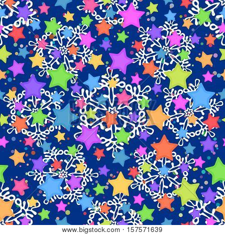 Seamless Pattern for Christmas Holiday Design, Colorful Stars and White Snowflakes. Vector