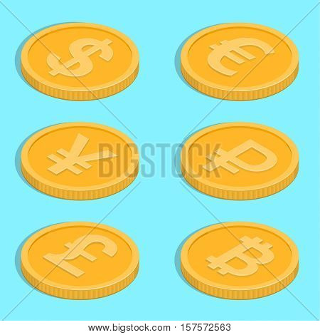 Set of icons of coins. Bank notes dollar euro pound sterling yuan ruble bitcoin. Symbols of currencies in isometric 3D style. Vector illustration.