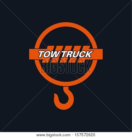 Tow truck icon. Wrecker logotip. Towing hook. Round the clock evacuation of cars. Design can be used as a logo a poster advertising singboard. Vector element of graphic design