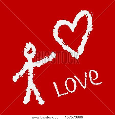 Abstract silhouette of man the heart and handwriting Love. Drawing a rough brush. Grunge. Red white.