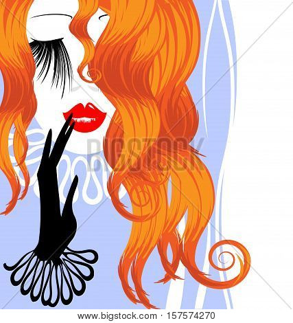 white blue background with abstract outlines of the womans red haired head and the hand in the black glove