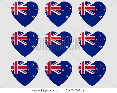 Heart With The Flag Of New Zealand. I Love New Zealand. New Zealand Flag Icon Set. Vector Illustrati
