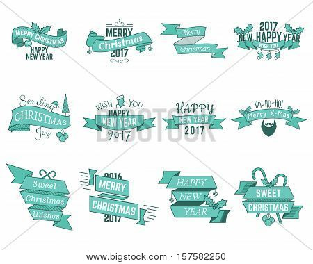 Christmas wishes collection. Winter wishes with ribbons and holiday symbols, elements for web, inspiration presentation, app etc. Vector christmas wishes illustration. Christmas wishes isolated.