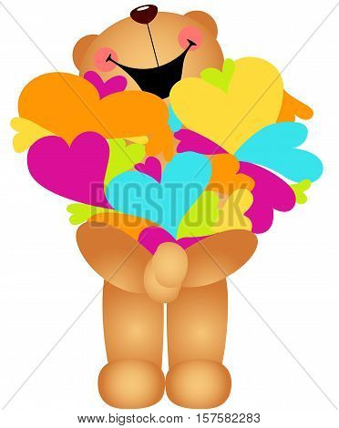 Scalable vectorial image representing a teddy bear holding hearts, isolated on white.