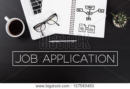 Modern Office desk with Job Application homepage on the table business hiring occupation concept.