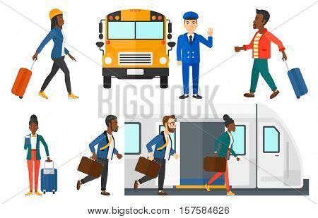Female passenger walkingwith a suitcase. Passenger with briefcase going out of train. Passenger standing with suitcase and ticket. Set of vector flat design illustrations isolated on white background.