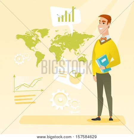 Businessman taking part in global business. Businessman standing on the background of world map. Global business and business globalization concept. Vector flat design illustration. Square layout.