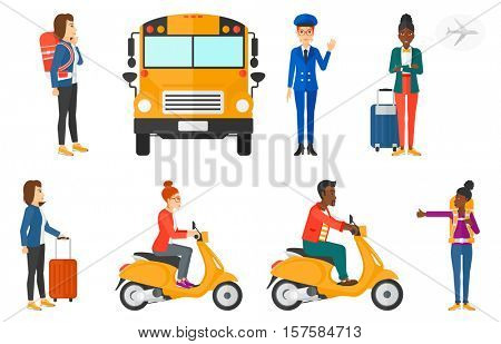 Young woman riding a scooter. Young man driving a scooter. Hitchhiking woman trying to stop a car. Woman with backpack hitchhiking. Set of vector flat design illustrations isolated on white background