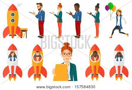 Businessman flying in business start up rocket. Businessman having idea about new business start up. Business start up concept. Set of vector flat design illustrations isolated on white background.