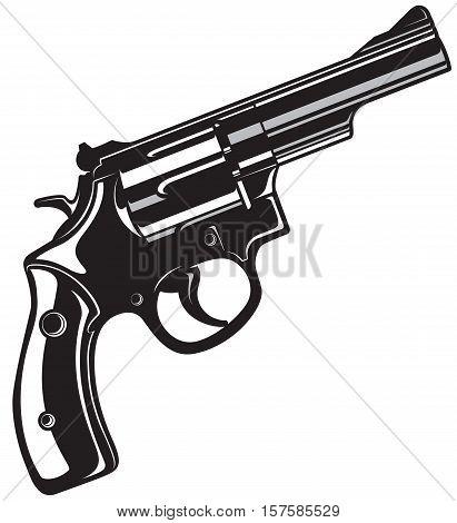 Black Revolver Gun isolated on white background. Vector illustration.