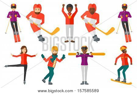 Young ice hockey player skating on ice rink. Smiling ice hockey player with stick and puck. Ice hockey player playing ice hockey. Set of vector flat design illustrations isolated on white background.