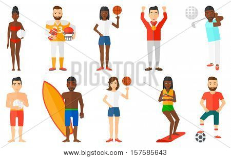 Man holding volleyball ball in hand. Beach volleyball player standing with volleyball ball. Woman spinning basketball ball on finger. Set of vector flat design illustrations isolated on background.