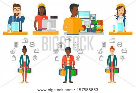 Young cashier with standing at the checkout in supermarket. Male cashier working at checkout in supermarket. Cashier at work. Set of vector flat design illustrations isolated on white background.