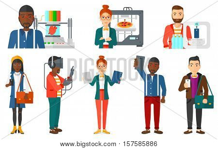 Young woman standing near 3D printer making pizza. Engineer using a 3D printer. Man working with 3D printer. 3d printing concept. Set of vector flat design illustrations isolated on white background.
