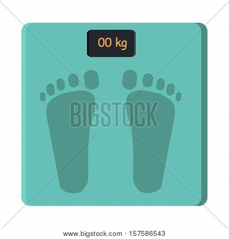 Bathroom scale isolate on white. Foot scale electronic device. Measurement of weight equipment. Household appliance. Instrument for measuring weight. Balance weight control. Vector in flat style