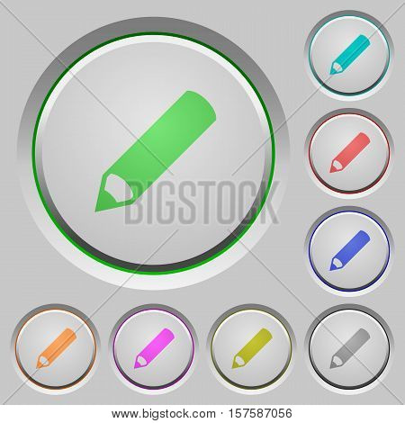 Pencil color icons on sunk push buttons