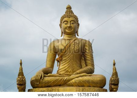 Big marble buddha statue on Phuket island Thailand