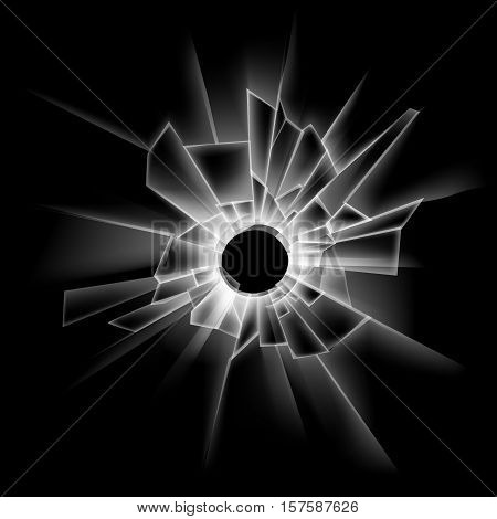 Vector Transparent Broken Glass Window with Bullet Hole Close up Isolated on Dark Black Background