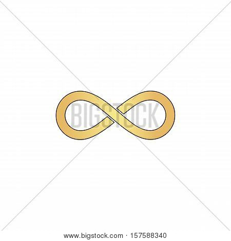 Infinity Gold vector icon with black contour line. Flat computer symbol