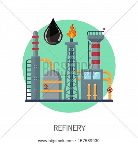 Oil refinery Flat Icons Concept with oil drop and circle. vector illustration.