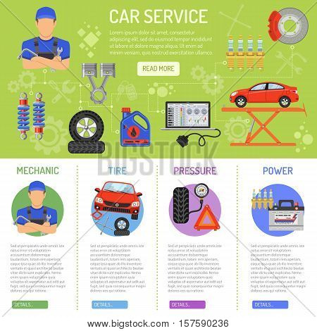 Car Service Infographics with Flat Icons mechanic, tire, pressure and power. Vector illustration.