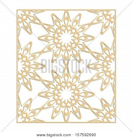 Laser cut vector pattern. Islamic die cut pattern. Cutout silhouette ornament. Fretwork oriental ornament. Vector islamic panel. Paper stencil cutting.