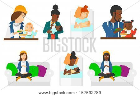 Pregnant woman holding hands on belly. Pregnant woman touching belly. Pregnant woman sitting on couch. Happy mother with newborn. Set of vector flat design illustrations isolated on white background.