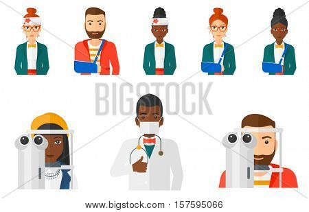 Woman undergoing an eye medical examination at the ophthalmologist. Man visiting ophthalmologist. Man during an eye examination. Set of vector flat design illustrations isolated on white background.