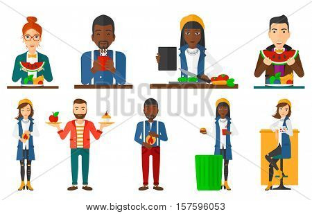 Man eating watermelon in front of table full of fresh fruits. Young man holding a slice of watermelon. Healthy nutrition concept. Set of vector flat design illustrations isolated on white background.