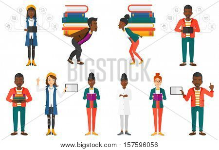 Tired student carrying a heavy pile of books on his back. Sad student with pile of books. Student holding many books on his back. Set of vector flat design illustrations isolated on white background.
