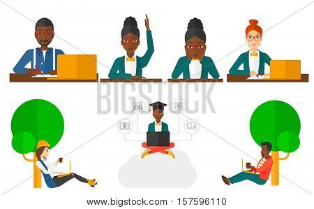 Student raising hand for an answer. Student sitting at the desk with raised hand. Student working on laptop and writing notes. Set of vector flat design illustrations isolated on white background.
