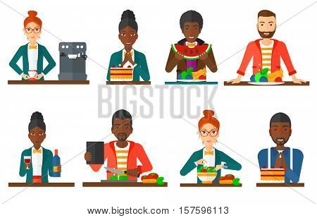 Happy man looking with passion at a big cake. Excited man standing in front of delicious cake. Cheerful smiling woman eating cake. Set of vector flat design illustrations isolated on white background.