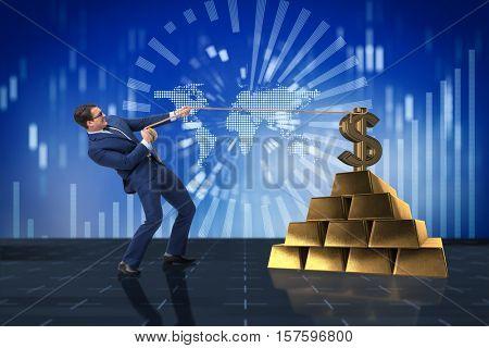 Businessman pulling dollar and gold bullions