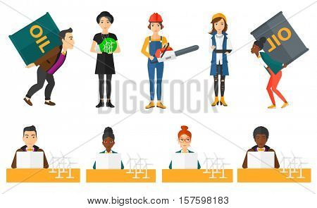 Engineer projecting wind turbines. Engineer working with model wind turbines. Engineer working on laptop. Green renewable energy concept. Set of vector flat design illustrations isolated on background