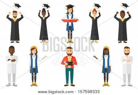 Cheerful graduate in cloak throwing mortarboard in air. Graduate throwing up his graduation hat. Students celebrating graduation. Set of vector flat design illustrations isolated on white background.