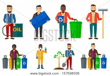 Man throwing away plastic bottle. Man standing near four bins and throwing away plastic bottle in an appropriate trash bin. Set of vector flat design illustrations isolated on white background.