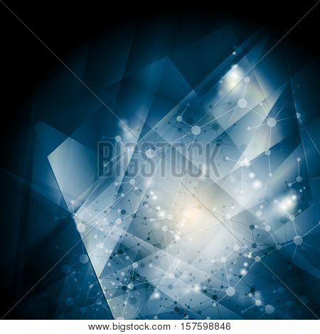 Abstract blue DNA molecular structure background. Vector biology atom illustration template. Polygonal shapes design