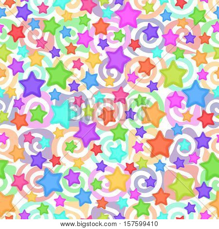 Seamless Pattern for Childish and Holiday Design, Colorful Stars and Spirals on White Background. Eps10, Contains Transparencies. Vector