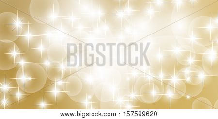 Abstract bokeh with gold background. Festive defocused lights