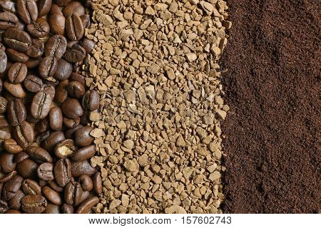 Three types of coffee in the form of strips: coffee beans ground coffee instant coffee