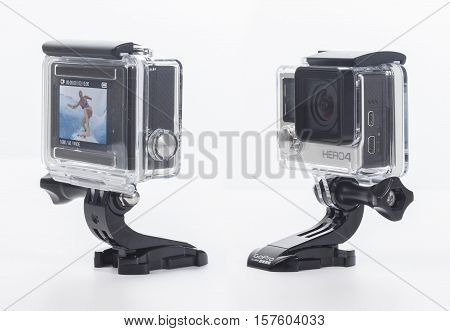 Istanbul, Turkey - June 8, 2015: GoPro Hero 4 Black Edition isolated on white background, GoPro is a brand of high-definition personal cameras, used in extreme action video photography.