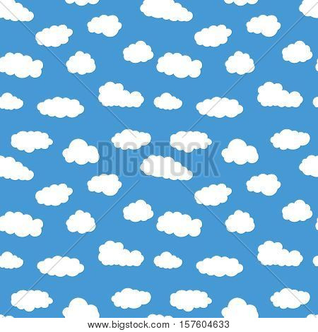 Colorful seamless pattern with white clouds. Hand drawn Illustration for kid textile, card, pajama, t-shirt print design. Fashion trend background. Blue sky simple vector backdrop